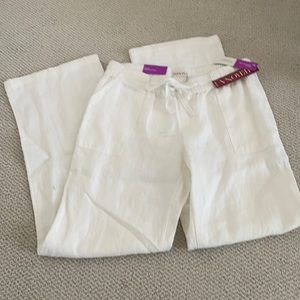 New white linen pants